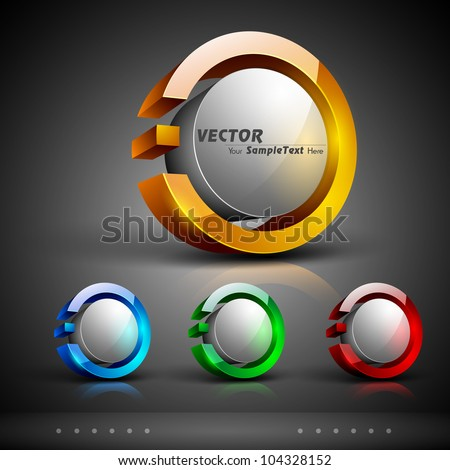 Abstract 3D glossy icon sets in yellow, blue, green or red color with grey color combination, isolated on grey with text space.EPS 10. can be use as icons, element, banner or background.