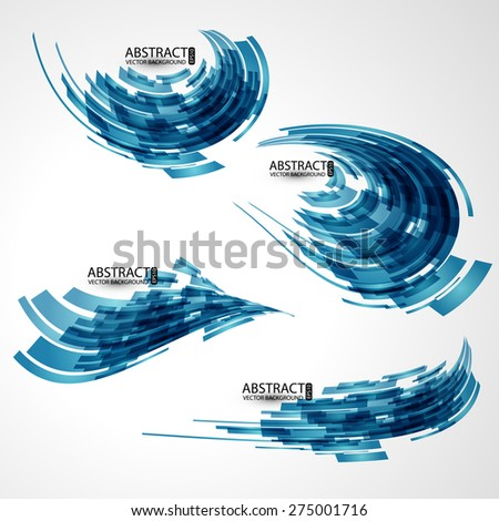 Abstract 3d icon set with  ribbon blue  elements. Design elements with spiral motion. - stock vector