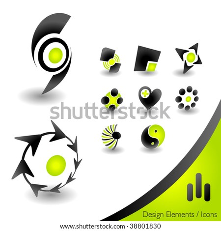 Abstract 3D icons - stock vector