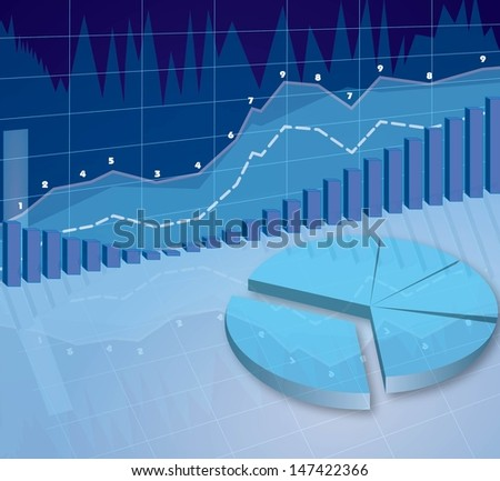 abstract 3d illustration of business diagrams blue background  - stock vector