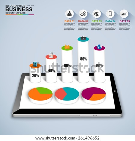 Abstract 3D isometric business Infographic - stock vector