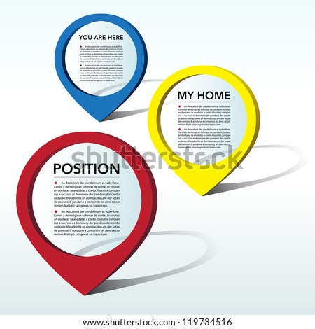 Abstract 3D location pointer background. EPS10 - stock vector
