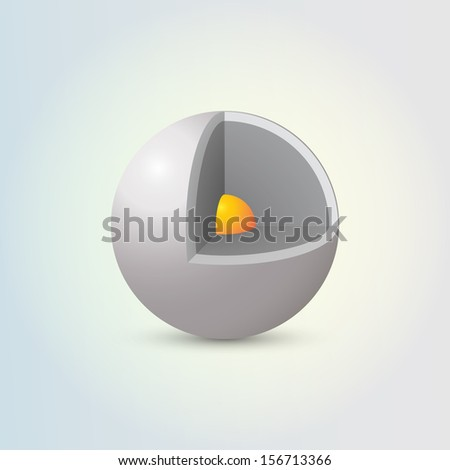 Abstract 3D metal sphere design with orange seed  Eps 10 vector illustration - stock vector