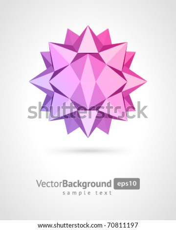 Abstract 3d origami polygonal sphere vector design element - stock vector