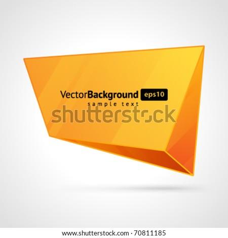 Abstract 3d origami speech bubble vector background - stock vector