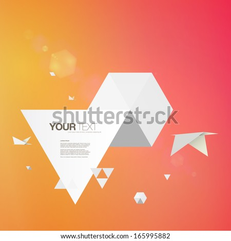 Abstract 3D origami world with birds and colorful background design  Eps 10 vector illustration - stock vector