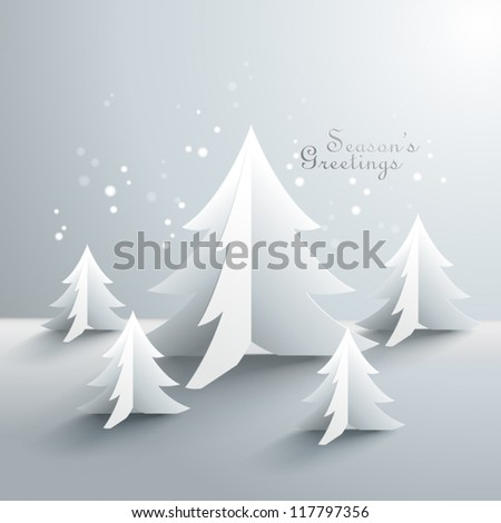 Abstract 3D Paper Christmas Trees - stock vector