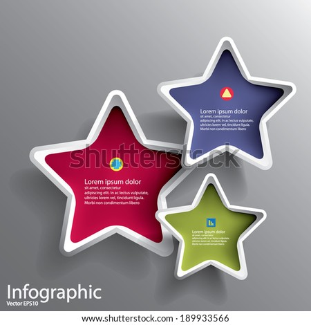 Abstract 3D Paper Graphics for use as illustration or background, Star shape - stock vector