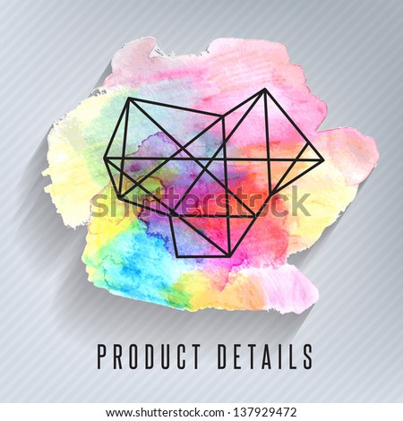 Abstract 3D Paper Graphics with watercolor effect - stock vector
