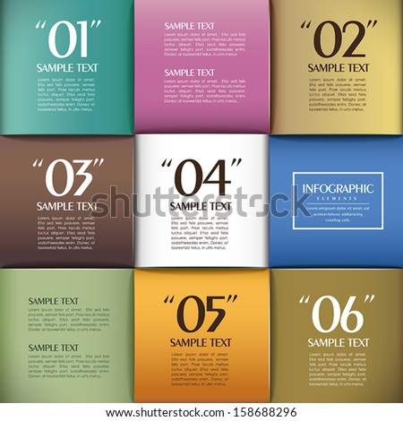 abstract 3d paper infographic elements - stock vector