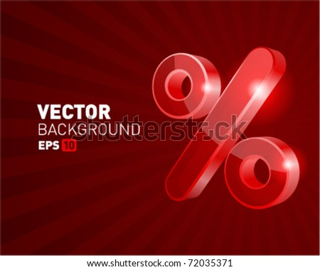Abstract 3d percent vector background - stock vector