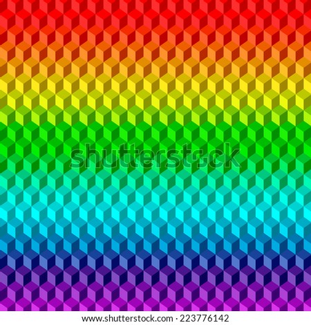 Abstract 3D Rainbow Background from Cubes - stock vector