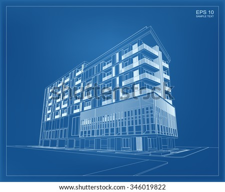 Abstract 3 d render building wireframe vector vector de abstract 3d render of building wireframe vector schematic design of architecture with blueprint background malvernweather Images