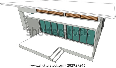 Abstract 3D render of house wireframe - Vector illustration - stock vector