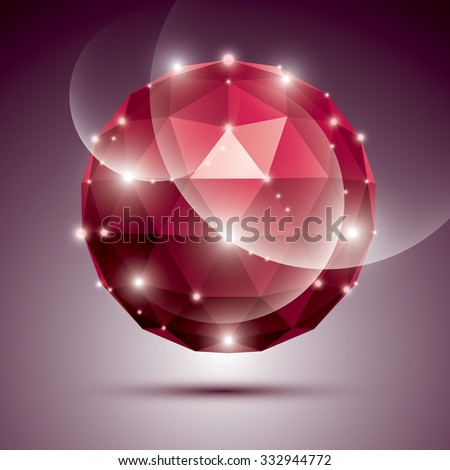 Abstract 3D ruby gala sphere with gemstone effect, red glossy orb created from triangles, eps10. - stock vector