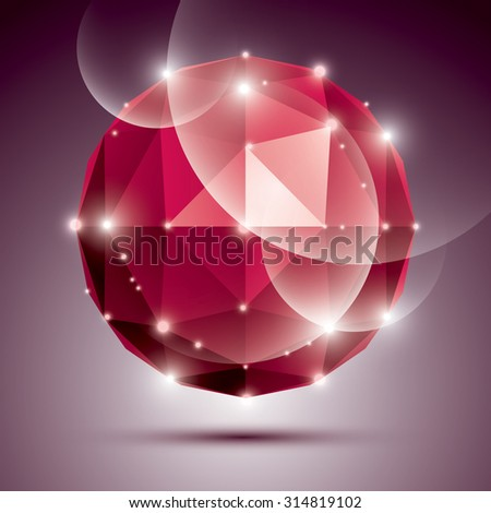 Abstract 3D ruby twinkle sphere with sparkles, red precious stone, eps10. - stock vector
