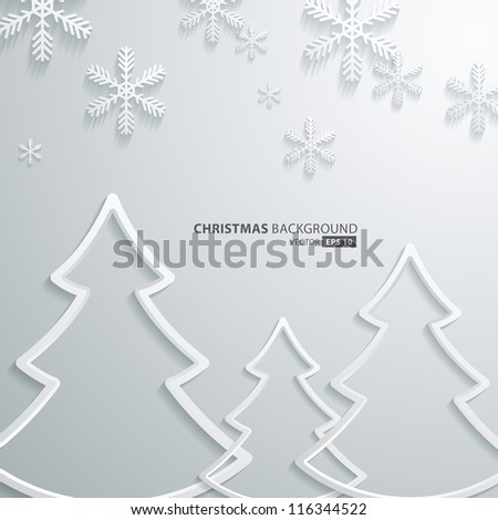 Abstract 3D Snowflakes and christmas tree Design