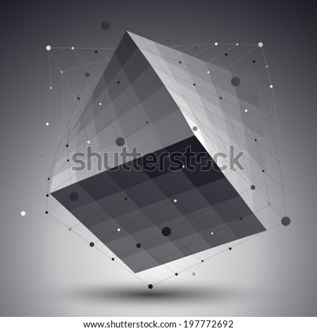 Abstract 3D structure polygonal vector network pattern, grayscale art deformed figure placed over contrast background. - stock vector