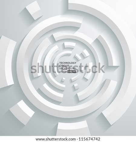 Abstract 3d technology circles vector background - stock vector