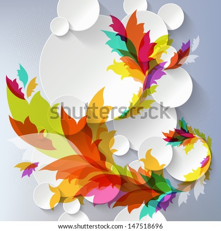 Abstract 3D Template with floral elements - stock vector