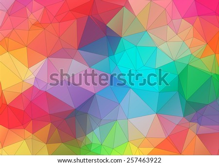 Abstract 2D triangle colorful background - stock vector
