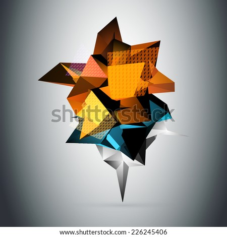 Abstract 3D triangles vector background