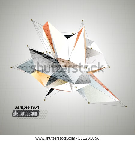 Abstract 3D triangles vector geometric background. Lines connected with lines, triangle and polygon design, inspirited by origami, network, grid, connect. - stock vector