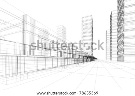 Abstract 3D vector construction of office building. Concept - modern city, architecture and designing - stock vector