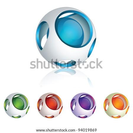 Abstract 3d vector sphere set - stock vector