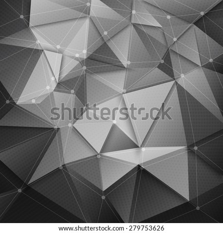 Abstract 3d vector technology green arrow with wireframe structure background. Digital business abstract vector background. Flayer, brochure, card vector design. Abstract wallpaper. Science background - stock vector