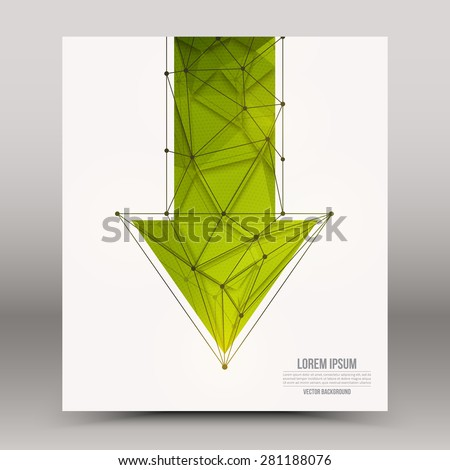 Abstract 3d vector technology green arrow with wireframe structure background. Digital business abstract vector background. Flayer, brochure, card vector design. Science background - stock vector