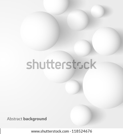 Abstract 3D white spheric background. Vector illustration - stock vector