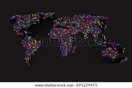 abstract 3d world map made up of small colorful dots