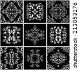 Abstract damask patterns set of nine seamless in retro style for design use. In black and white colors. Vector illustration.  - stock vector