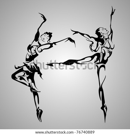 abstract dancers - stock vector