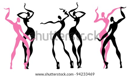 Abstract dancing figures - stock vector