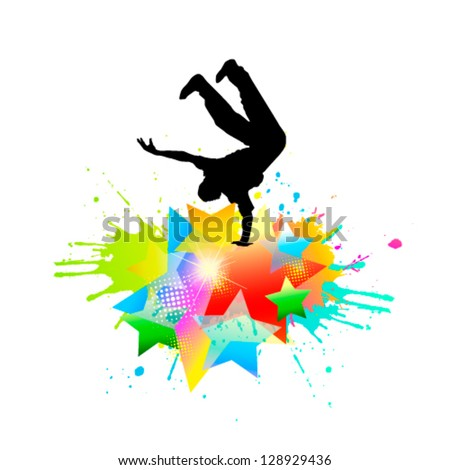 Abstract dancing guy. vector - stock vector