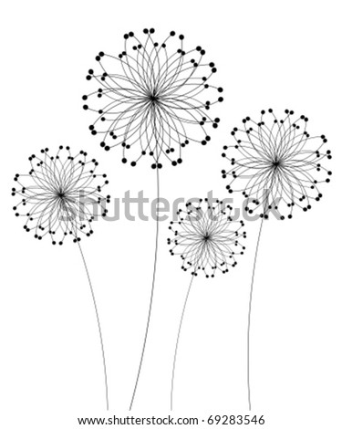 Abstract dandelion flowers over white. Vector illustration - stock vector