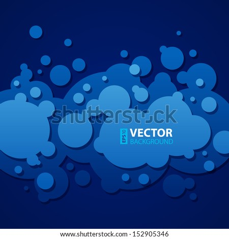 Abstract dark blue background with round bubbles. RGB EPS 10 vector illustration