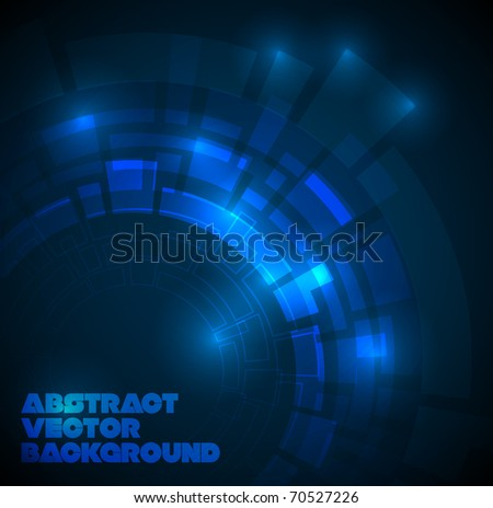 Abstract dark blue technical background with place for your text - stock vector