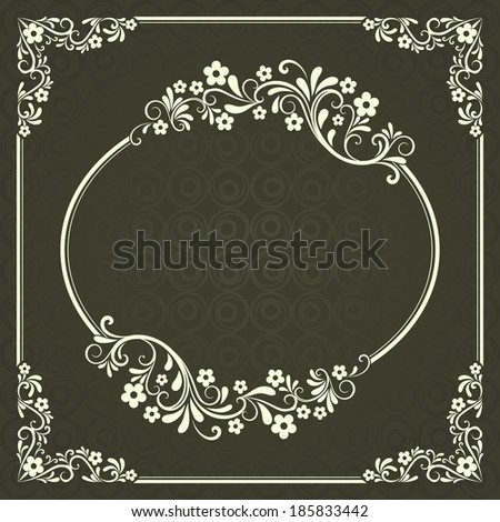 Abstract dark green floral vintage frame design with copy space. - stock vector