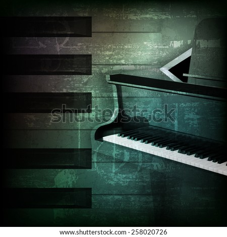 abstract dark green grunge background with grand piano - stock vector