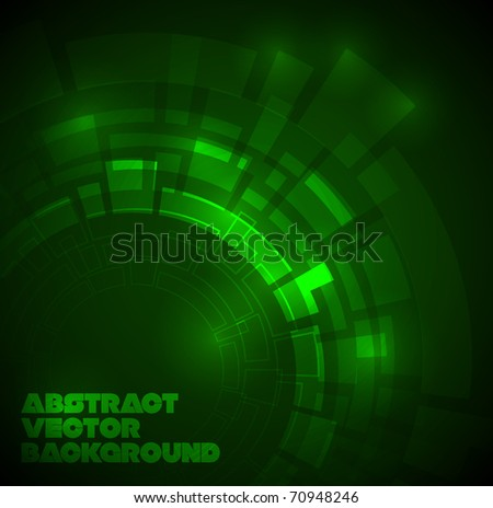Abstract dark green technical background with place for your text - stock vector