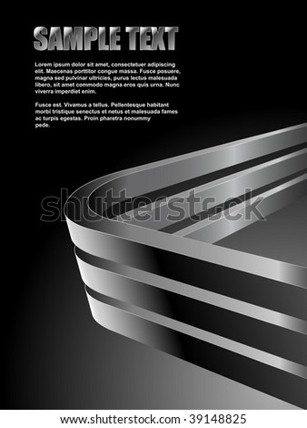 Abstract dark vector background with bent 3D steel bars and black copy space. - stock vector