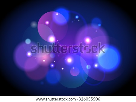 Abstract dark violet bokeh lights with sparkles vector backdrop. - stock vector