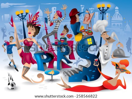 Abstract Day in Paris, France Carnival, Fun, Lifestyle Abstract Art(Vector Art) - stock vector