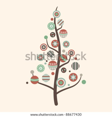 Abstract decorated Christmas tree with baubles in vintage colors - stock vector