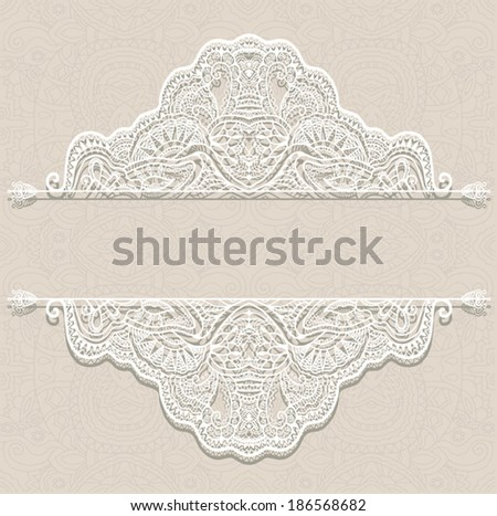 Abstract decoration, lace frame border pattern, ethnic ornament. - stock vector