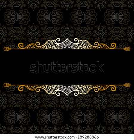 Abstract decoration, lace frame border pattern, ethnic ornament. Template design, isolated elements, gold on black - stock vector