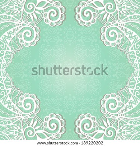 Abstract decoration, lace frame border pattern, invitation card design, ethnic ornament, hand drawn artwork, vector illustration - stock vector